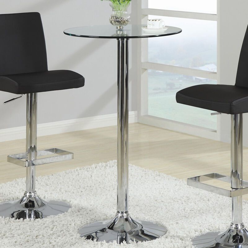Bar Table With Chrome Base And Round Glass Top By Coaster 120341 | EBay