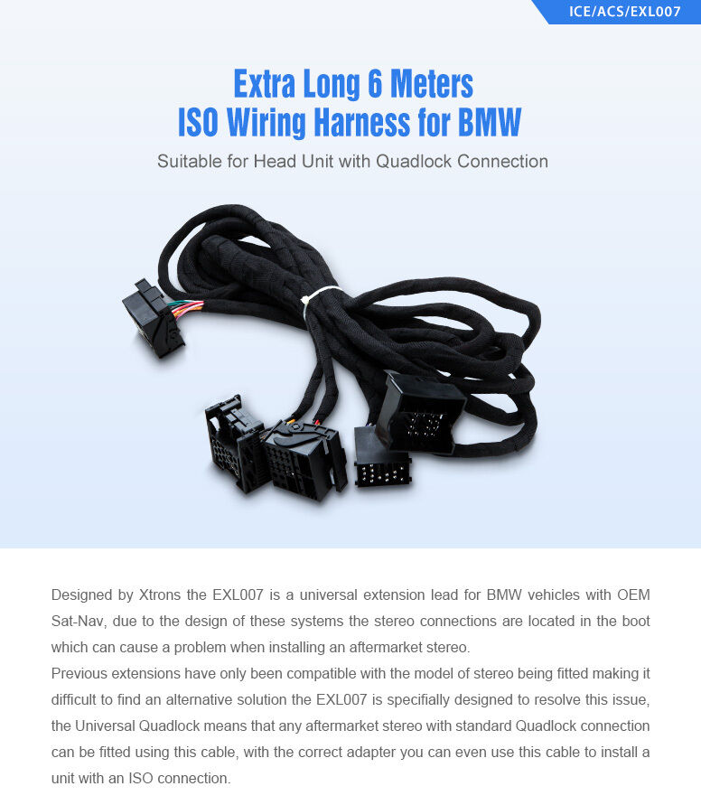 s l1600 car stereo iso wiring harness extra long 6m cable adapter for bmw  at virtualis.co