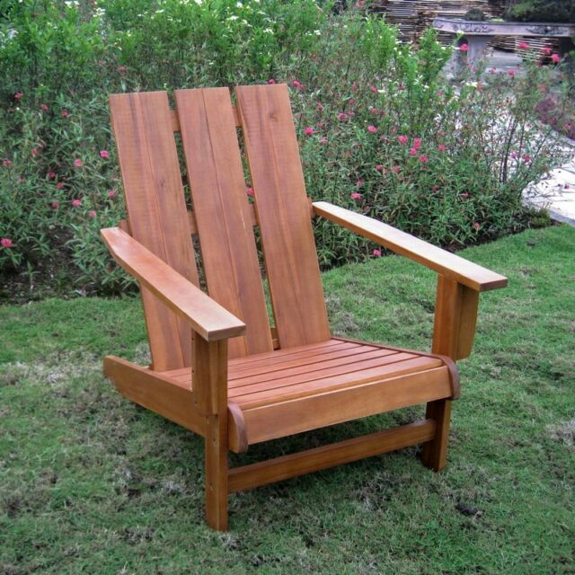 International Caravan Acacia Large Square Back Adirondack Chair Brown New