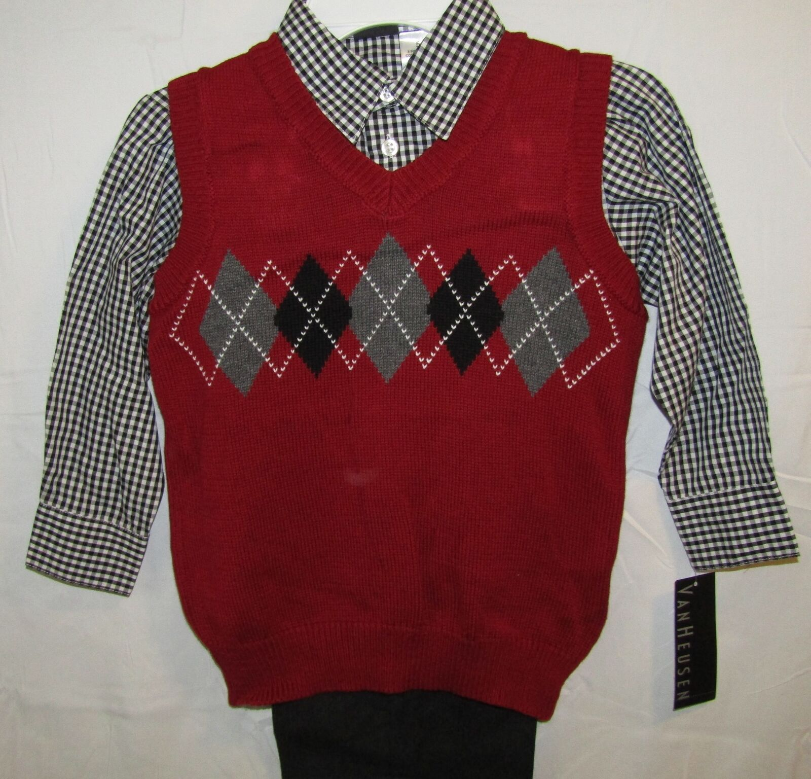 Van Heusen 3-piece Maroon Black and Gray Sweater Vest Set Boys ...