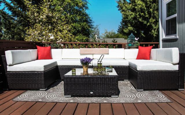 rattan furniture set 7 pc patio pe wicker sofa garden outdoor