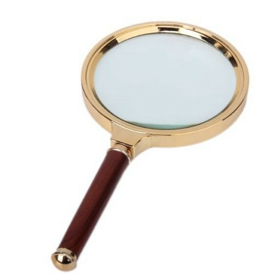 90mm 3X - 5X Red Wooden Handle Magnifier Magnifying Glass V6R3 H3O2