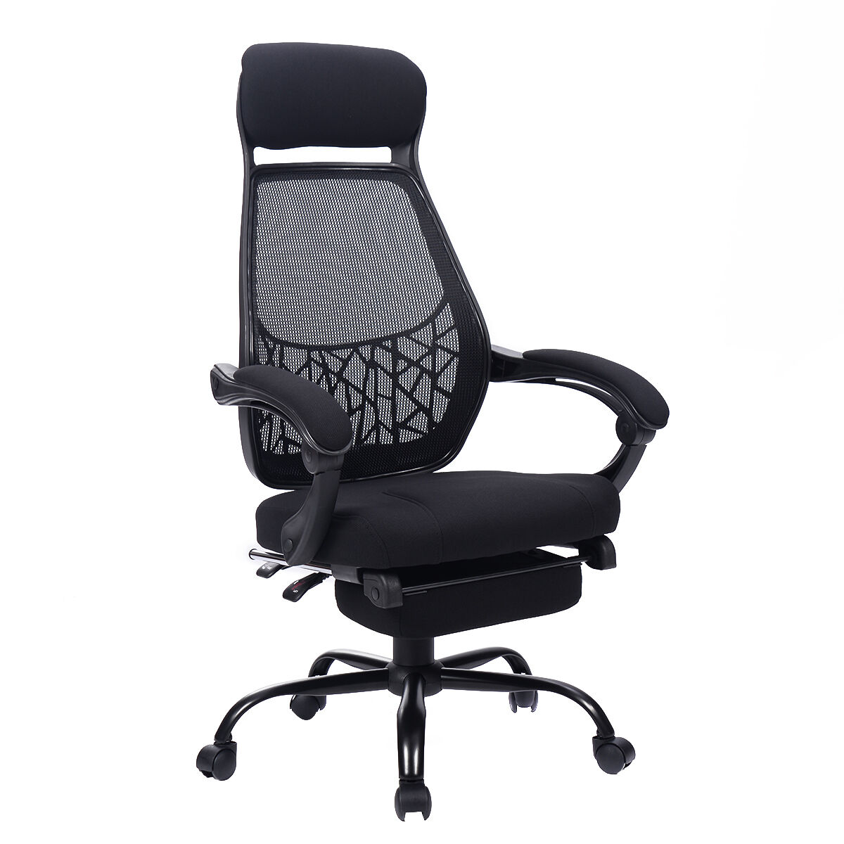 high mesh back reclining office chair computer desk task w pull out ottoman new