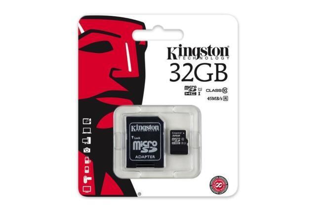 MICRO SD KINGSTON 32GB CLASSE 10 CON ADATTATORE MEMORIA SPED. CON CORRIERE
