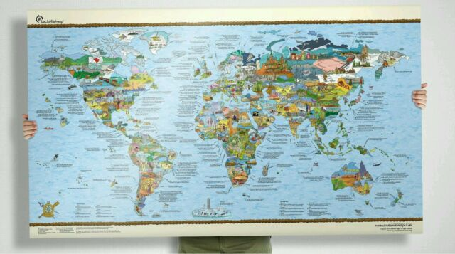 Surf trip world map large wave travel guide poster art gift picture surf trip world map large wave travel guide poster art gift picture spots gumiabroncs Images