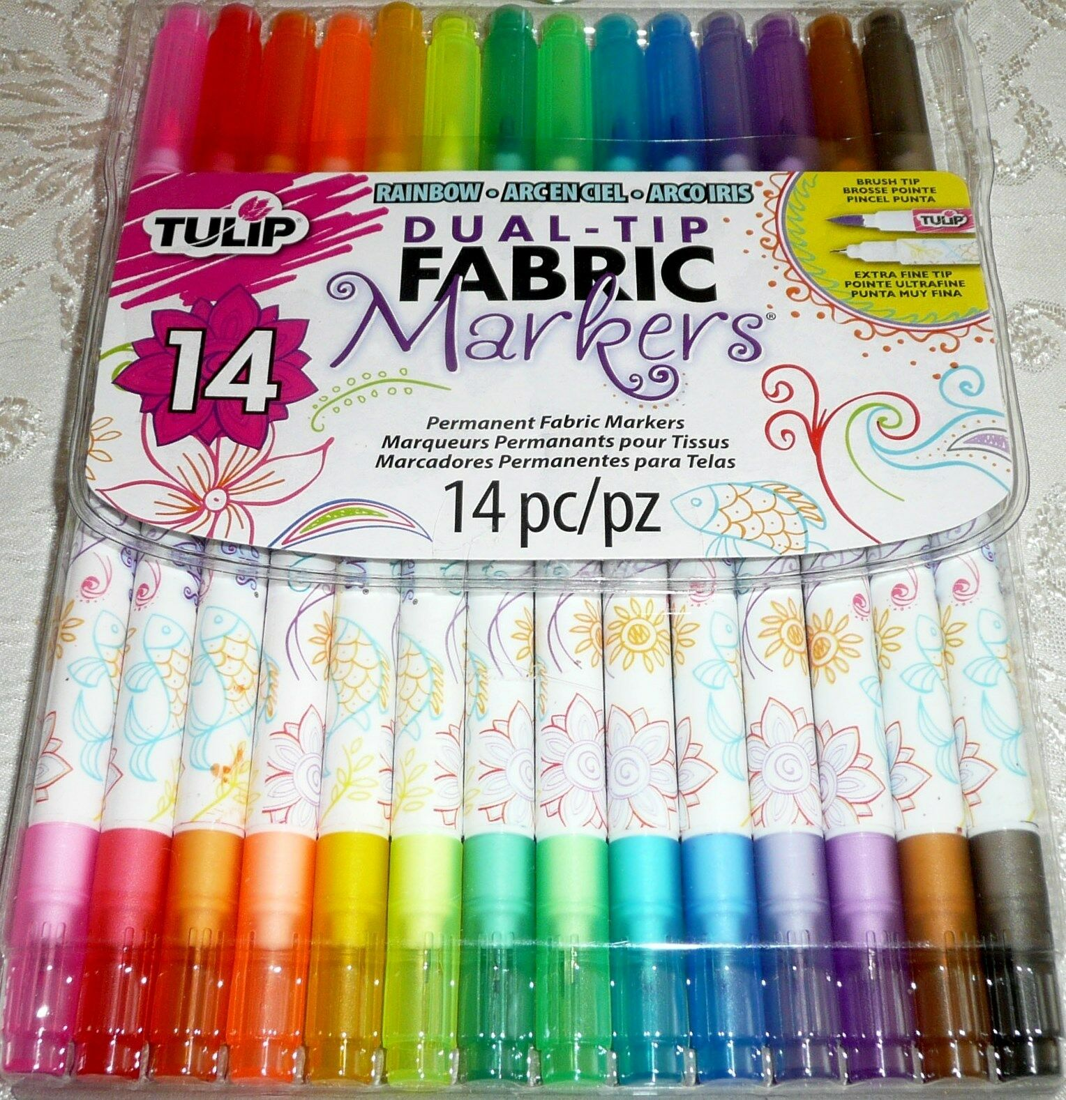 Tulip Dual-tip Fabric Marker Set 14pc Assorted Colors 017754319609 ...