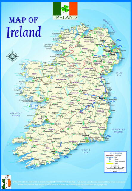A2 gloss laminated ireland geographical political atlas map a2 gloss laminated ireland geographical political atlas map educational poster gumiabroncs Image collections