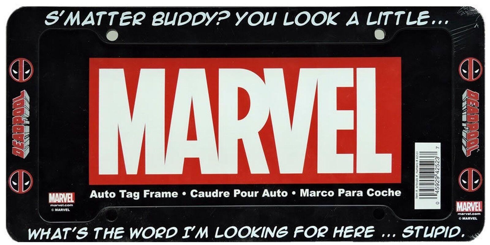 Marvel comics deadpool smatter buddy black plastic auto license best pick jeuxipadfo Choice Image