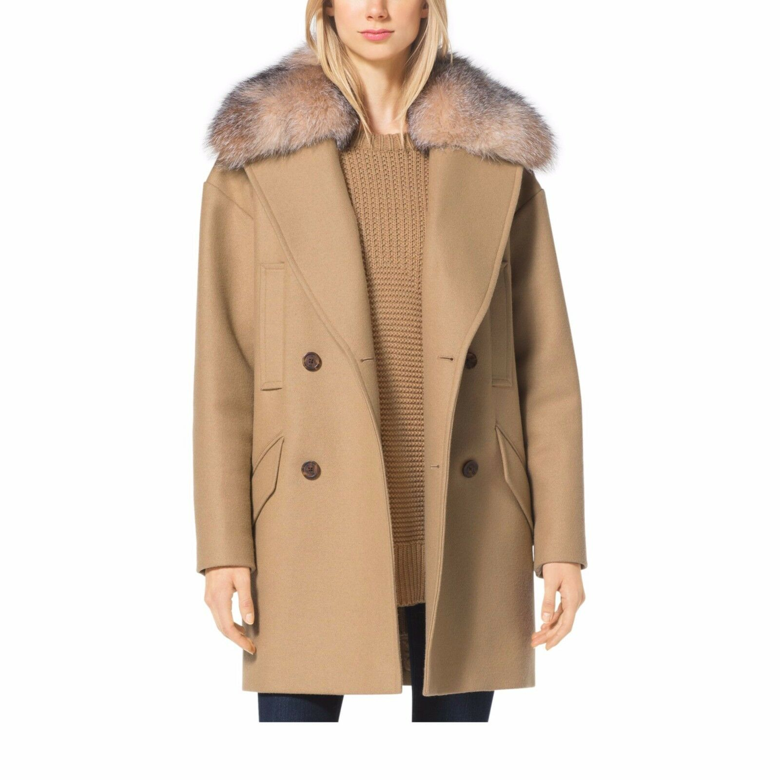 Michael Michael Kors Fur Trim Collar Melton Wool Coat Dark Camel ...