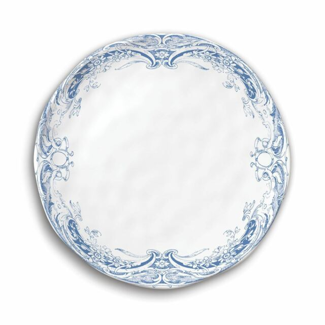 Set / 4 Michel Design Works Melamine 8\  Accent Plates Antique Scroll Blue - NEW  sc 1 st  eBay & Set / 4 Michel Design Works Melamine 8\
