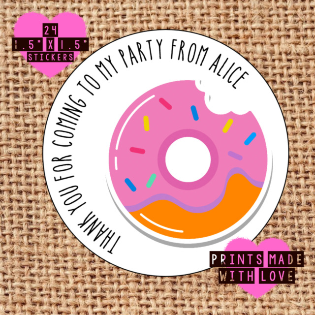 Party bag stickers personalised x24 doughnut 80s pop thank you sweet cone labels