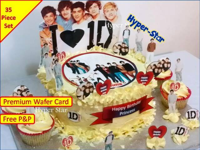 1d One Direction Cup Cake Standup Scene Topper Wafer Edible Birthday