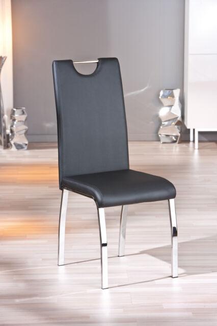 Texas / 8 Stühle=Set, Stuhl, Küchenstuhl, Kunstleder Schwarz, Metallgestell