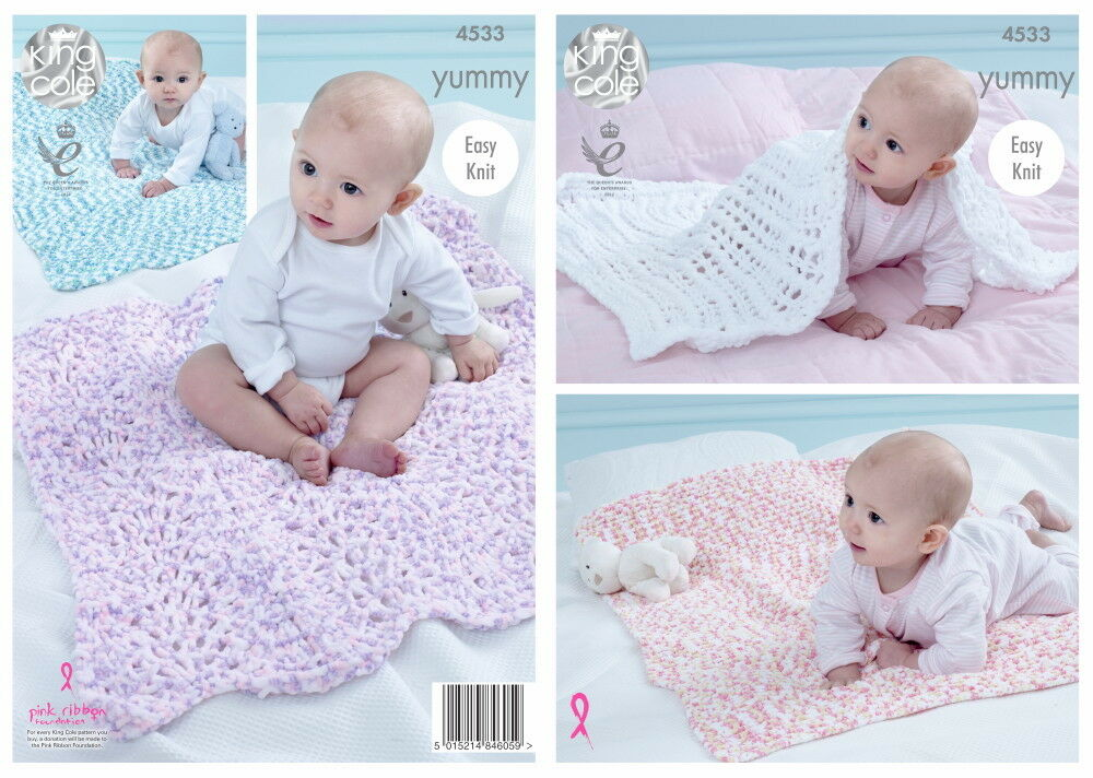 Easy Knit Baby Comfort Blankets Knitting Pattern King Cole Yummy