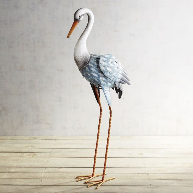Lovely Metal Crane Bird Statue Stand Indoor Outdoor Garden Patio Coastal Home Decor Great Ideas