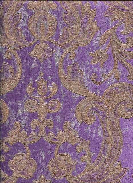 Rc15020 roberto cavalli purple gold damask wallpaper