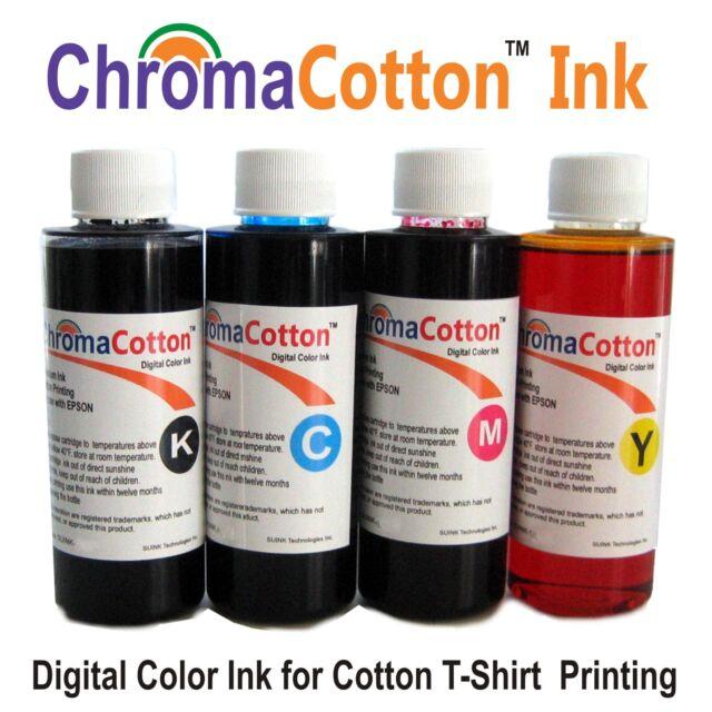 4 Color Bottles ChromaCotton Ink Refill Inkjet Printer for T-shirt ...