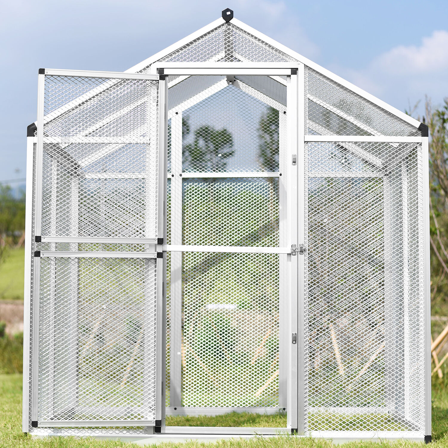 Large Gentle Animals House Aluminum Bird Cage Pet Poultry Walk in ...