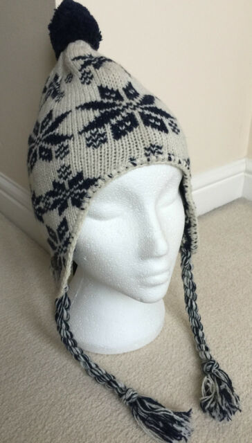 GANT Wool Blend Fair Isle Nordic Bobble Hat With Ear Flaps & Tails ...