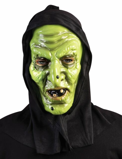 Black Hooded Green Witch Mask Latex Halloween Costume Accessory Adult Men Women  sc 1 st  eBay & Black Hooded Green Witch Mask Latex Halloween Costume Accessory ...