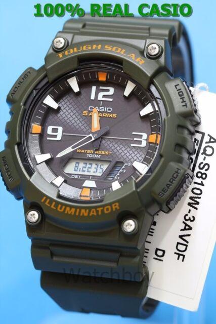 AQ-S810W-3A Green Orange Casio Men's Watch Tough Solar Analog Digital Resin New
