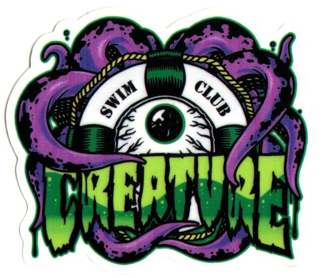 Creature skateboard sticker swim club skate snow surf board bmx guitar van new