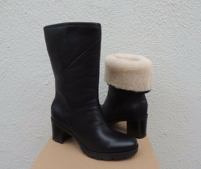UGG JESSIA BLACK WATER-RESISTANT LEATHER SHEEPSKIN BOOTS, US 6.5/ EUR 37.5 ~