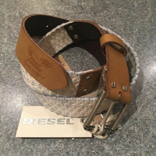 "Diesel Bintrec Sz6 85/34 Womens Cream Cotton Leather Belt BNWT m l xl 33""-36"""
