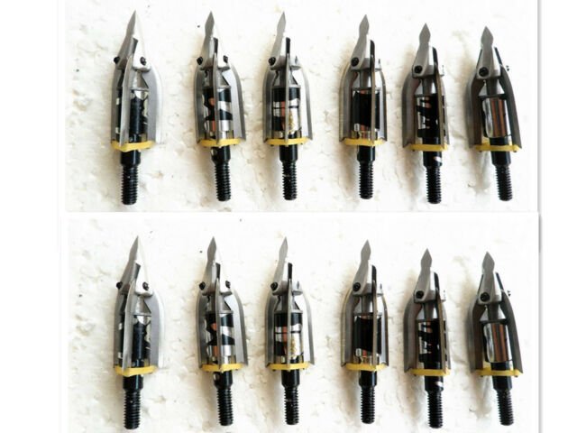 12 Pcs Trophy Ridge Meat Seeker 3-Blade Rocket Aerohead Broadheads Archery Arrow