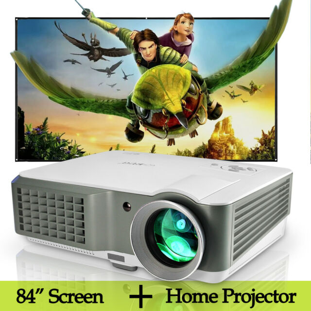 LCD Home Theater Projector LED USB HDMI TV and 84'' Projector Screen Matte White