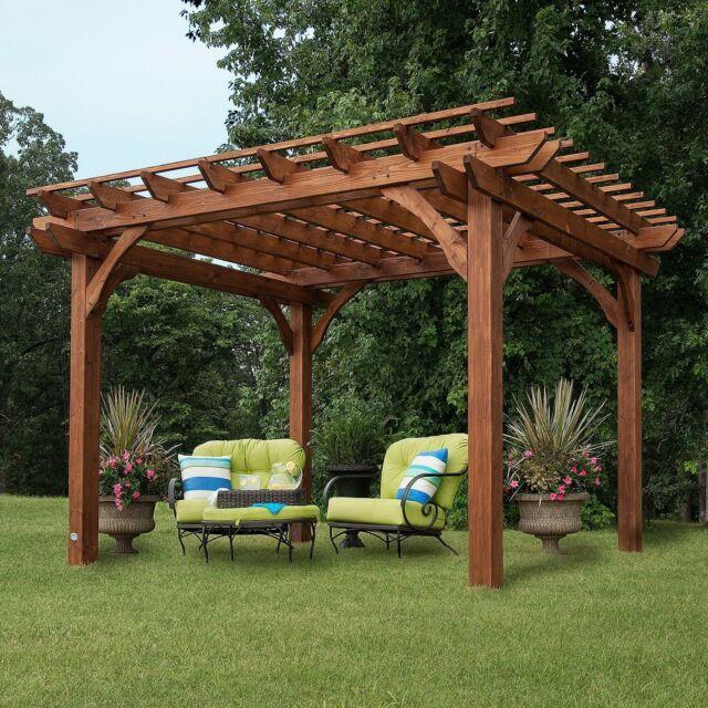 Wooden Outdoor Gazebo Patio Pavilion Cedar Pergola 12 X 10 8 Tall