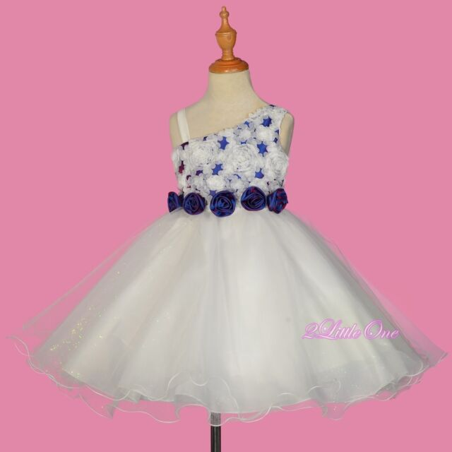 One Shoulder Embossed Flower Girl Dress up Wedding Pageant Party ...