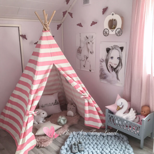 child indoor tent. Large Pink Princess Girl Teepee Cotton Canvas Kids Play Tent Toy Indoor  Outdoor