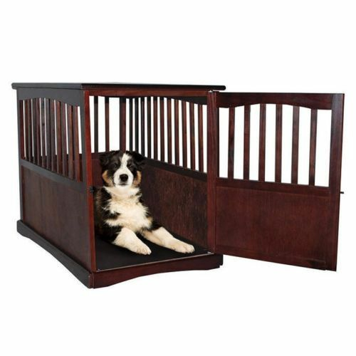 Indoor Wooden Dog Pet Crate End Table Furniture Espresso Family ...