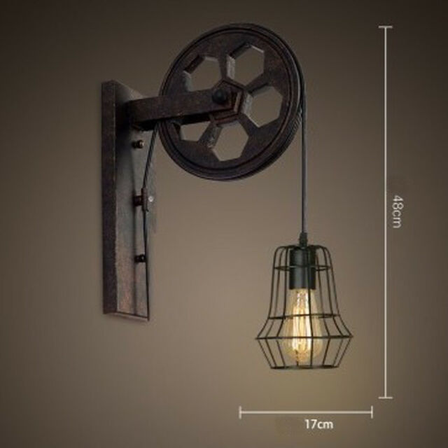 Retro Industrial Single Light Wall Sconce Edison Lamp Lift Pulley ...
