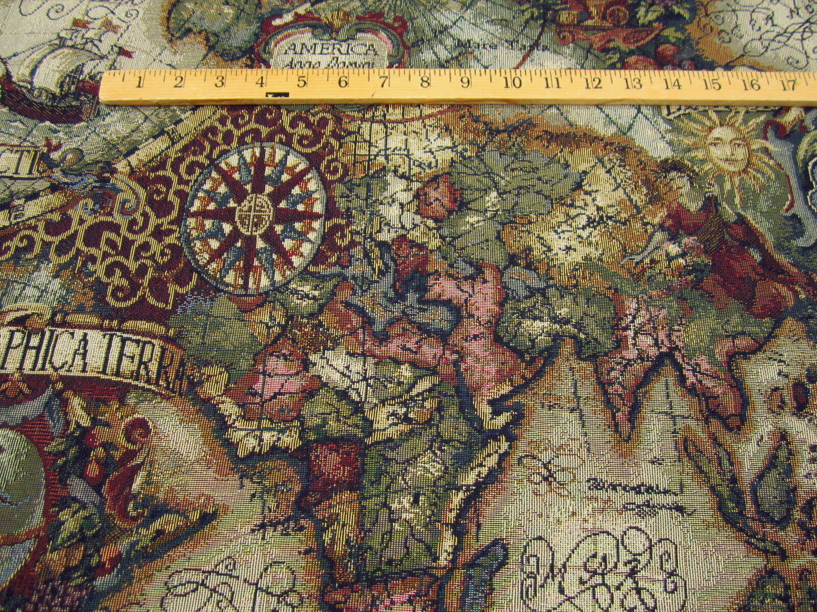 Magellan Old World Map Tapestry Upholstery Fabric Color JEWEL - Old world map