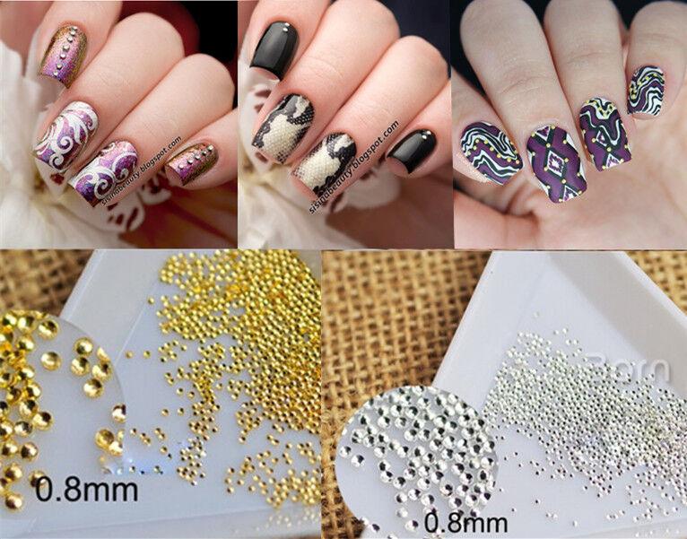 200pcs Mini Dot 3d Nail Art Studs Gold Silver Rhinestone Manicure ...
