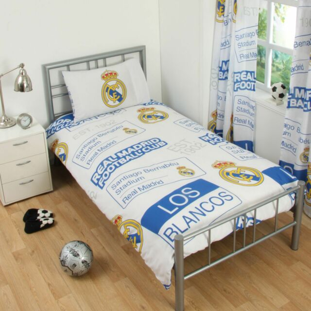 Real Madrid Cf Patch Single Duvet Cover Pillowcase Set Bedding 100 Official