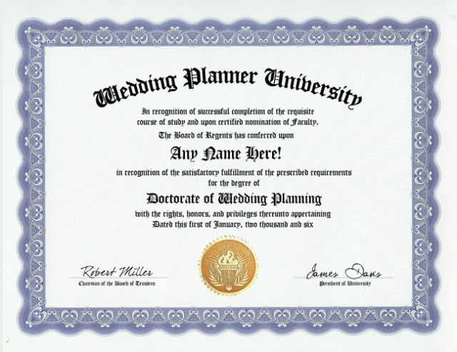 Wedding Planning Event DiplomaPlanner DegreeCustom Gag Gift
