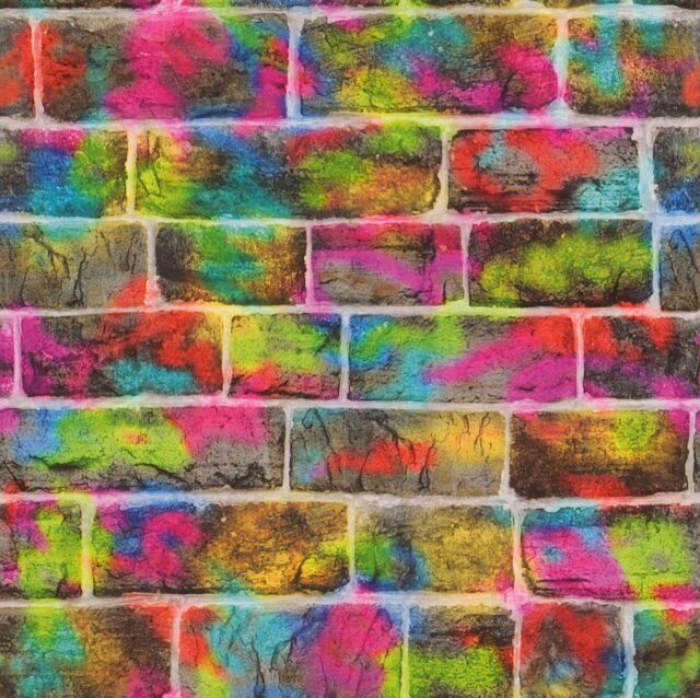 Rasch Graffiti Brick Wall Multi Pink Green Kids Girls Washable Wallpaper 291407