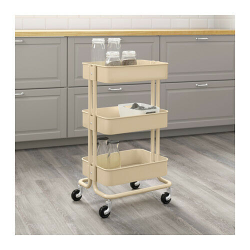 Ikea Raskog Home Kitchen Bedroom Storage Steel Utility Cart Beige Ebay