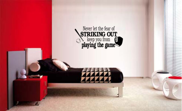 Fear of Striking out Baseball Lettering Decal Wall Vinyl Decor ...