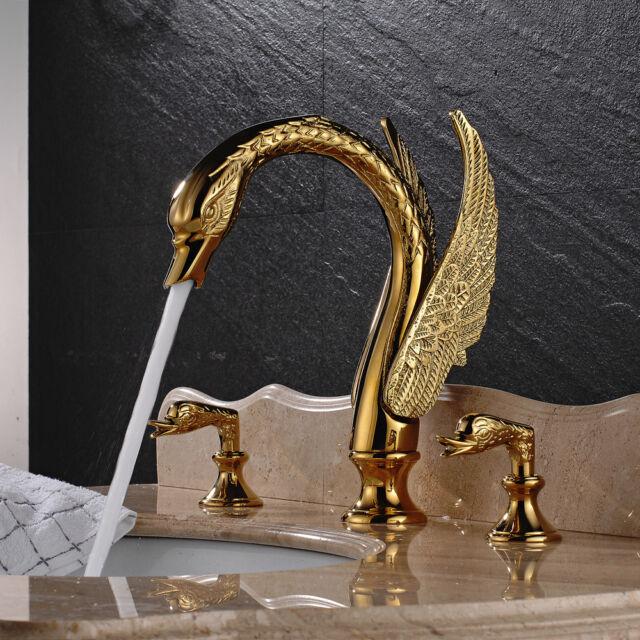 Gold Brass Pcs Bathroom Basin Faucet Swan Spout Sink Mixer Tap Dual - Gold brass bathroom fixtures