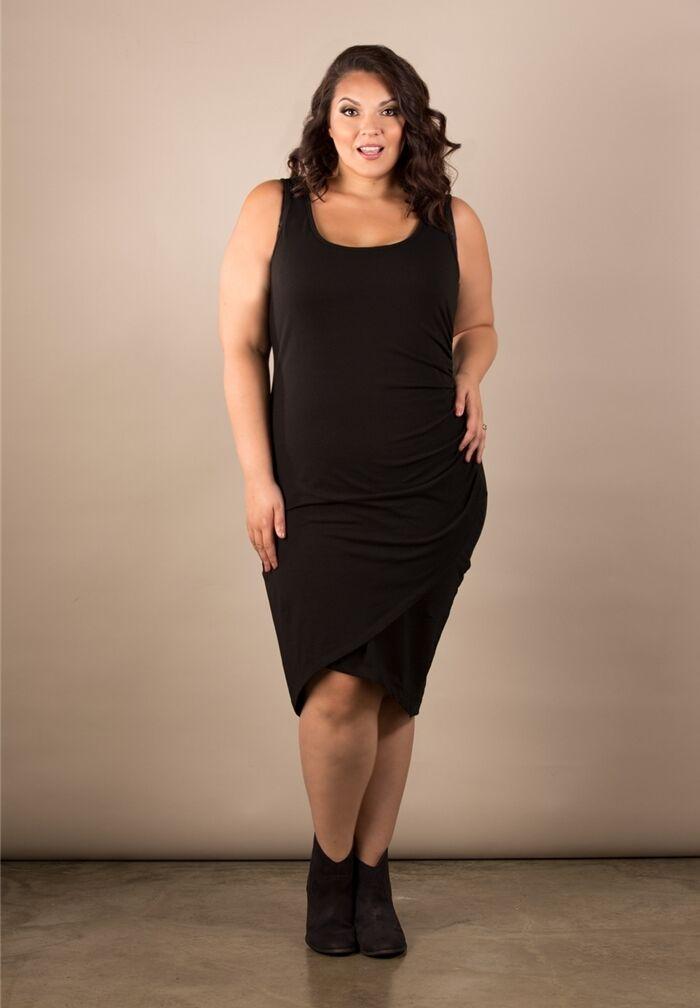 Plus Size Bodycon Dress 2x 6x Swak Sleeveless Cotton Spandex Scoop