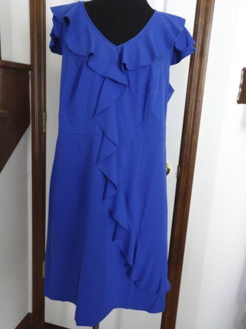 Spense Plus Size Dress 24w Cap Sleeve Ruffled Cobalt Breeze Blue Ebay