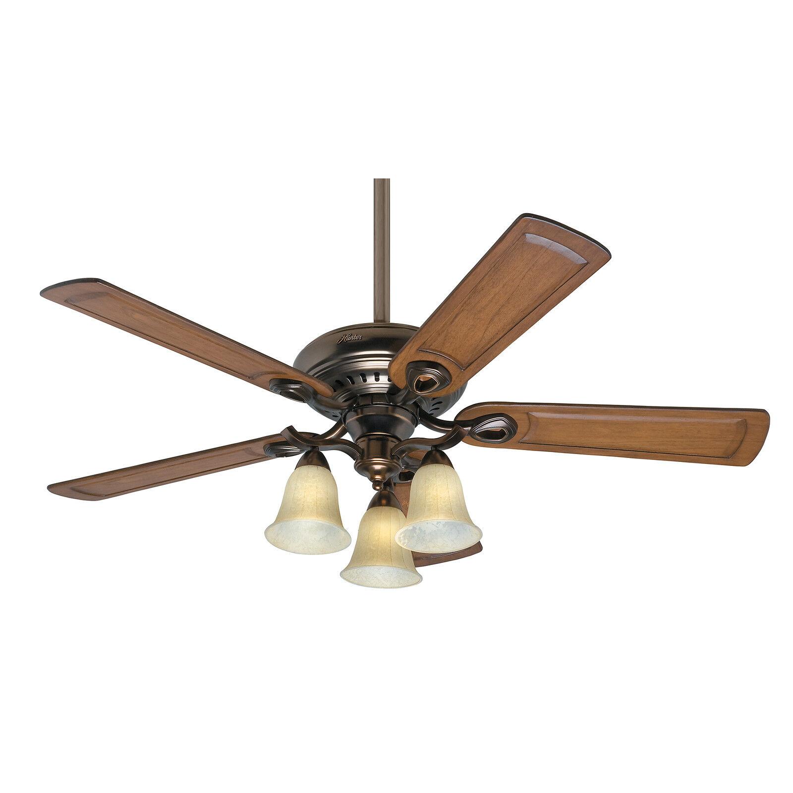 "Hunter Whitten Bronze Patina 52"" Ceiling Fan With Light"