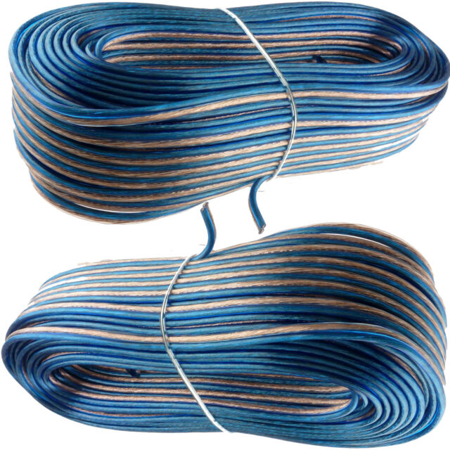 2x 100\'ft Feet 2 Cable 18 AWG AG Gauge Blue Speaker Wire 200 FT ...