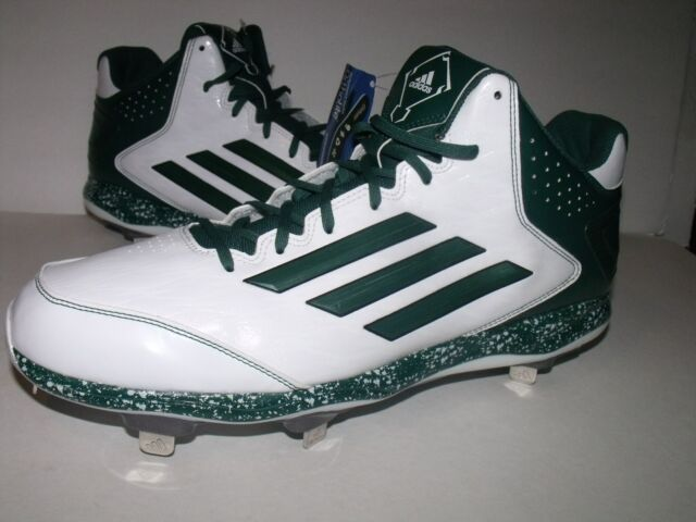 Adidas Power Alley 2 Mens Mid Metal BASEBALL Cleats (White/Green) NEW Mens Sz 15