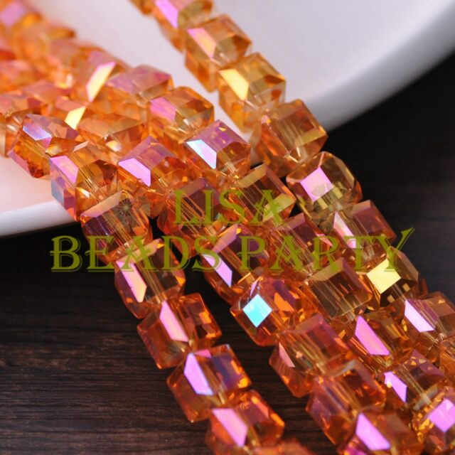 New 10pcs 10mm Cube Square Faceted Crystal Glass Loose Spacer Beads Gold Rose