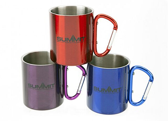 SUMMIT CARABINER CLIP ON STAINLESS STEEL CAMPING HIKING TRAVEL COFFEE  MUG CUP